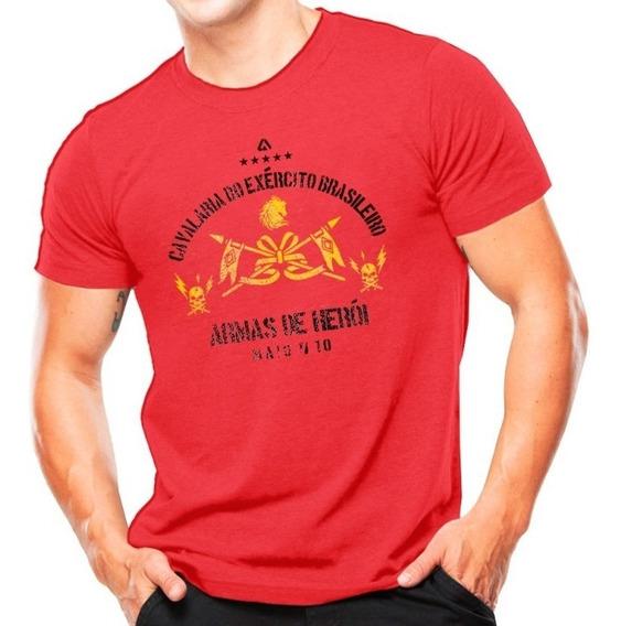 Camiseta Estampada Cavalaria Do Exército Brasileiro Vermelho