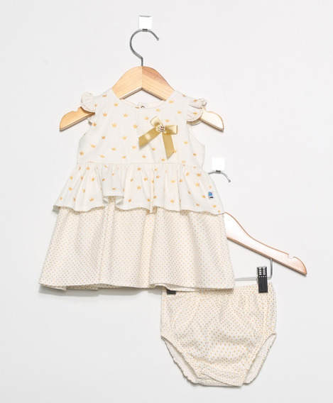 Vestido Bebê Pingo Doce Tricoline Coroa Acompanha Calcinha