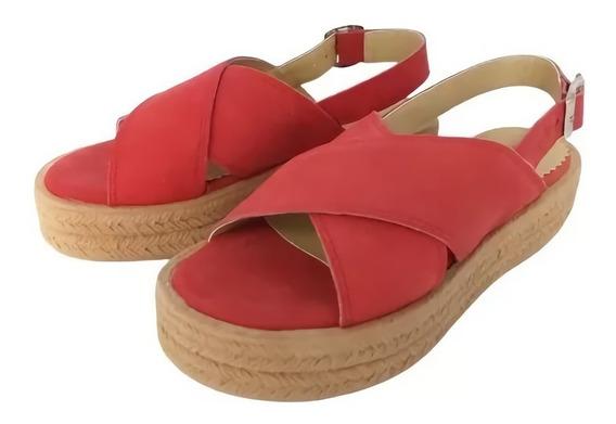 Sandalia Cruzada Cuero Vacuno Base De Goma Zapato Mujer 928