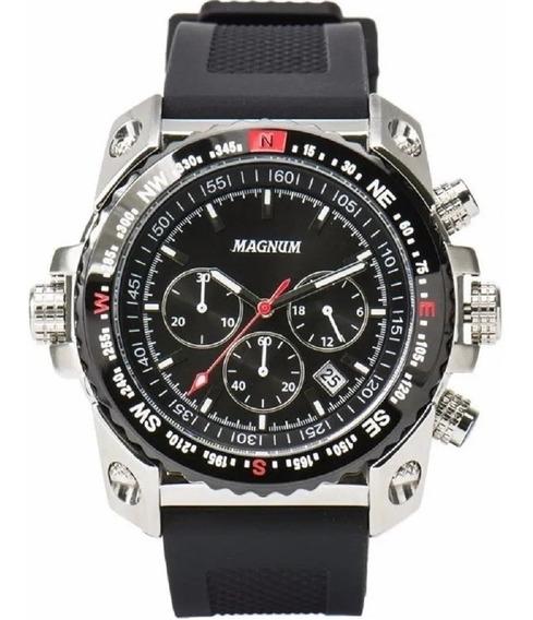 Relógio Magnum Masculino Prateado Cronometro Ma34209t