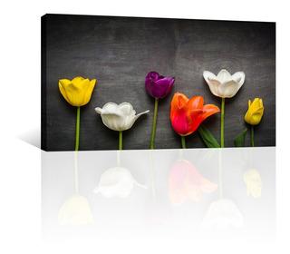 Cuadro Decorativo Naturaleza Flores Canvas Tulipanes Negro