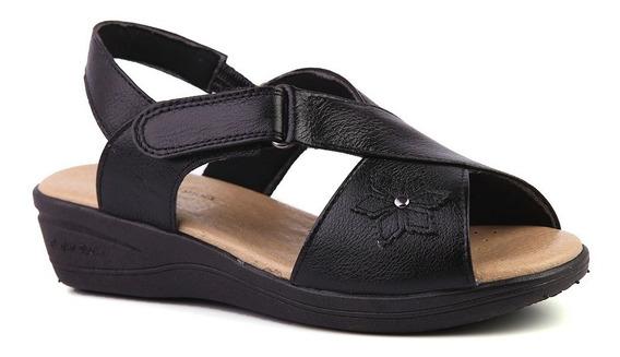 Sandália Feminina Anabela 7998 Em Couro Preto Doctor Shoes