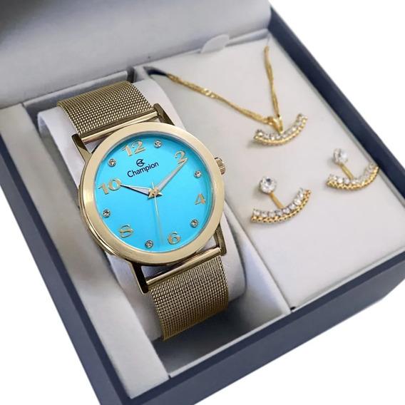 Relógio Champion Feminino Dourado + Colar E Brincos Barato