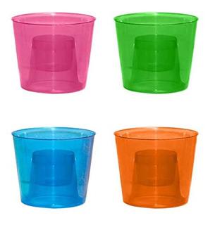 Tazas De Plástico Duro, Varios Colores Neón, 12 Unidades
