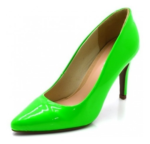 Sapato Social Scarpins Feminino Salto Fino Verniz Neon