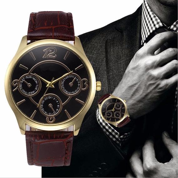 Relógio Masculino De Luxo - Casual Com Pulseira Em Couro