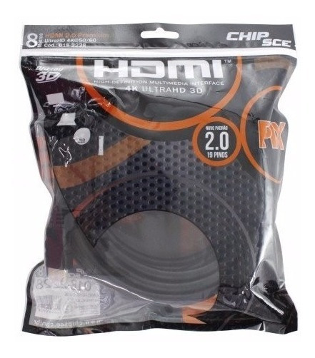 Cabo Hdmi 2.0 4k 3d Ultrahd 19 Pinos Chip 8 Metros 018-2228