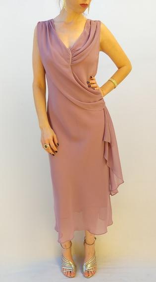 Vestido Social Básico Feminino Rosa Escuro