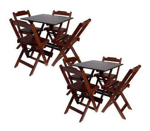 Kit Com 2 Conjuntos De Jogo De Mesa 70x70 Com 4 Cadeiras