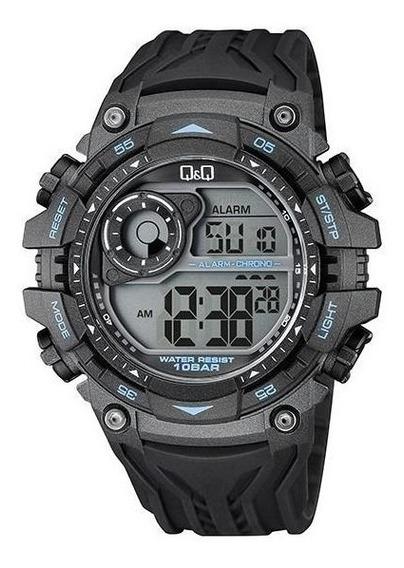 Reloj Q&q Tactico Negro/azul Modelo M157j003y