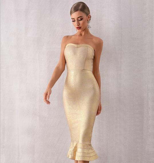 Vestido Tipo Bandage Dorado