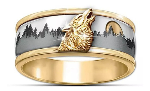 Anillo De Lobo Vikingo Salvaje Dorado Hombres