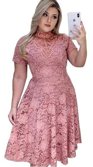 Vestido Midi Godê Rodado Gola Alta Pérolas E Renda Floral Roupas Femininas Congresso Cristã Gospel Moda Evangélica Cn