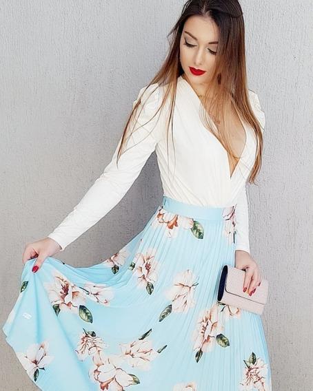 Saia Longa Plissada Floral Linda Forrada Verão 2019 Bf06