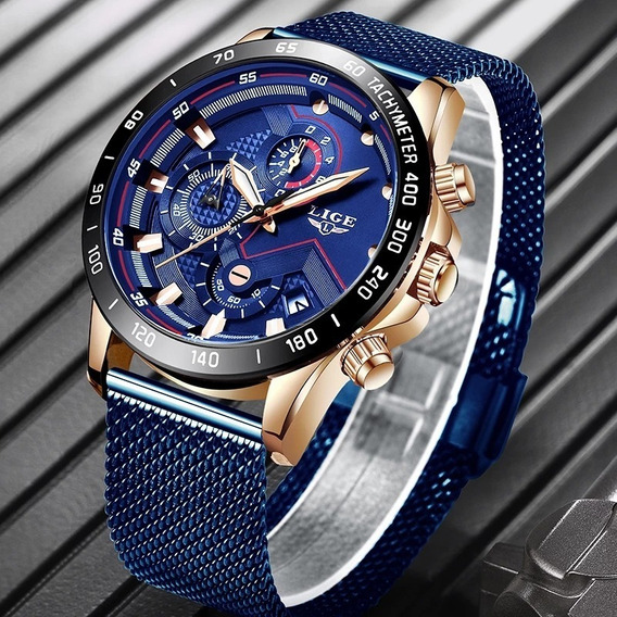Relógio Lige Blue Ultrafino
