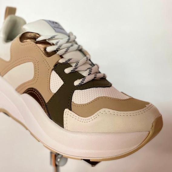 Tênis Via Marte Branco Nude 20-5842 Chunky Sneaker - Atitude