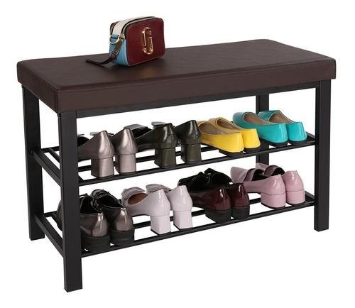 MYYINGELE Banco de Zapatero de 3 Niveles con coj/ín de Cuero de PU///80 x 30 x 48 cm Almacenamiento de///Zapatos/Asiento/Organizador de Zapatos Soporte para Entrada,///Pasillo y Dormitorio