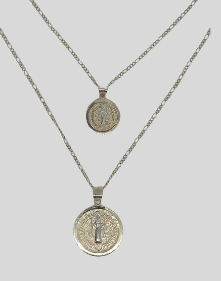 Juego De Medallas Para Novios San Benito En Oro 10 Kilates