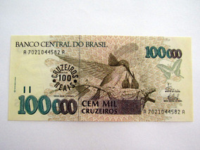 Cédula Antiga C235 Nota 100 Cruzeiros Reais Fe Lote 118