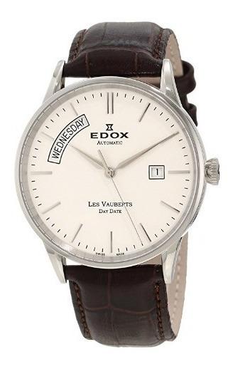 Relógio Suíço Edox Les Vauberts Marrom/branco Automático
