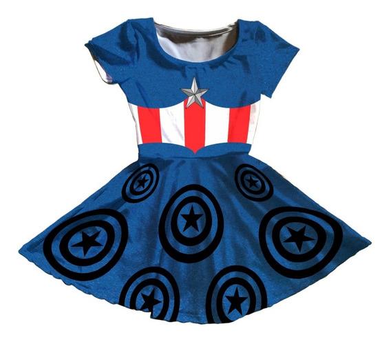 Vestido Fantasia Infantil Capitão América Mod 2
