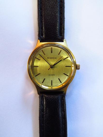 Edox Relógio Pulso Suíço Quartzo Plaque De Ouro Dustproof