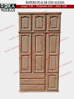 Ropero Placar Con Alzada 1.20x0.50x2.22 Pino Roka
