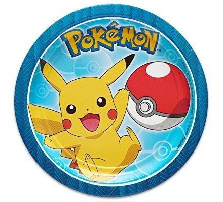 American Greetings Pokemon 8 Count Dessert Round Plate Peque