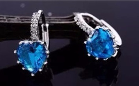Brinco Azul Marinho Pequeno Prata 925 Coração Com Cristal