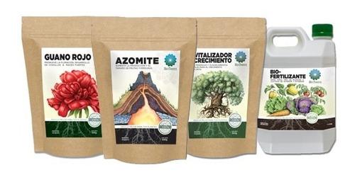 Pack Fertilizante+revitalizador+guano Rojo+azomite Bioterra