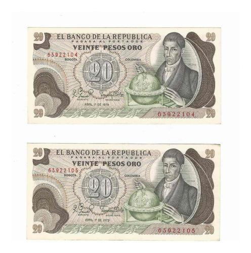 Imagen 1 de 2 de 2 Billetes Duo Seguidilla 20 Pesos 1979 # 1 D Uncirculated