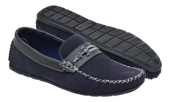 Sapato Mocassim Masculino Casual Camurça - 085 Azul Marinho