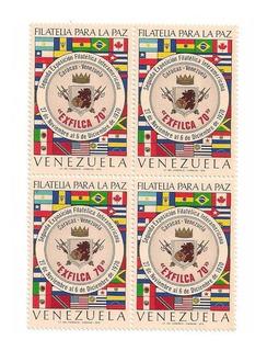 Hoja 4 Estampillas Filatelia Para La Paz Exfilca 1970