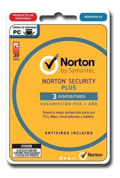 Norton Security Plus Antivirus 3 Dispositivos 1 Año Digital