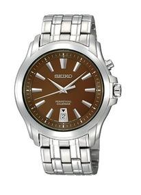 Relógio Masculino Seiko Calendário Perpétuo Marrom/prata Aço