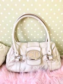 Bolsa Feminina Christian Dior Original Off-white Couro