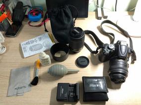 Nikon D5000 Com Duas Lentes 18-55 E 55-200 Com Bolsa