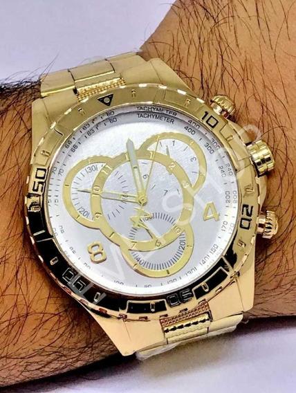 Relógios Masculino Dourado Luxo Kit C/5 Para Revender
