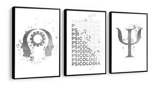 Quadro Decorativo Psicologia Frase Figura Preto E Branco