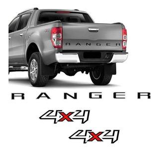 Kit Ford Ranger 2013/2016 Adesivo 4x4 E Faixa Tampa Traseira