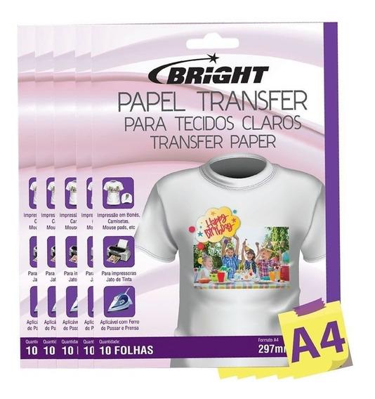 Papel Transfer Para Camisetas A4 Tecidos Claros Bright 50fls
