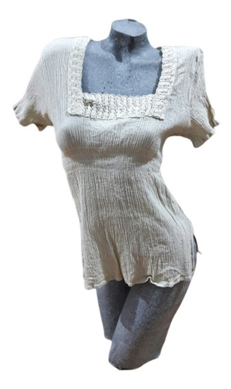 Blusa Bambula Tipo Hindú Puntilla Hilo 100% Algodón Modelo H