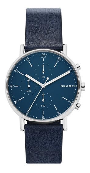 Reloj Caballero Skagen Signatur Skw6463 Color Azul De Piel