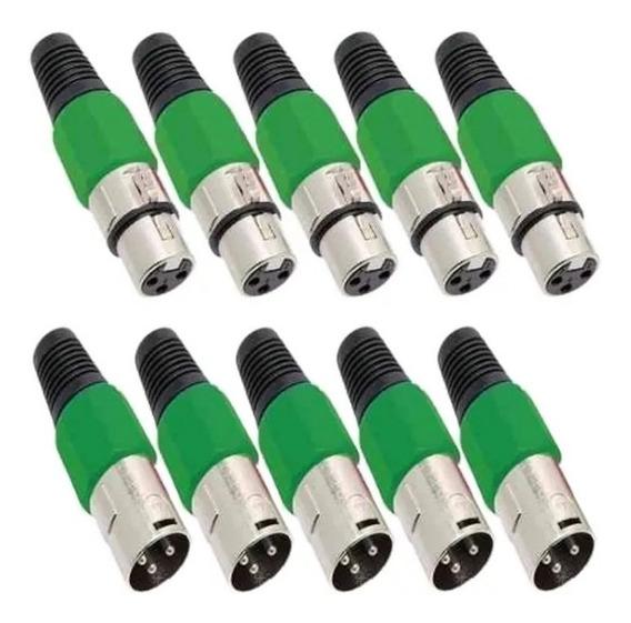 Kit 40 Plug Conector Xlr Cannon Macho Femea Corpo Plast