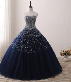 Vestido Xv Años Azul Oscuro Envió Gratis ! Q-180904006
