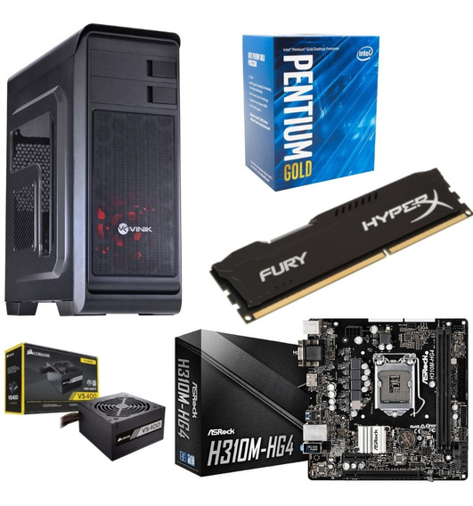 Kit Gamer Hunter Pentium G5400 Asrock H310m Hg4 Hx 8gb Vs400