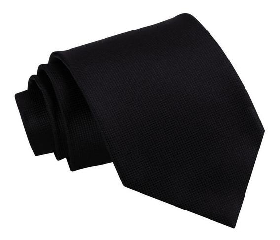 Corbata Negra Lisa | Textura Microcuadros