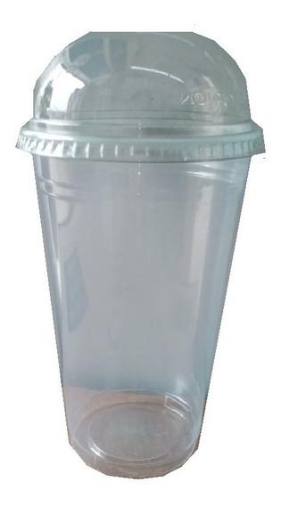 500 Vasos Con Tapa Domo 16 Onzas Biodegradables