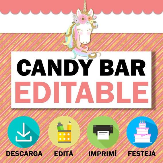 Kit Candy Bar Unicornio Glam Dorado Chic Imprimible Editable