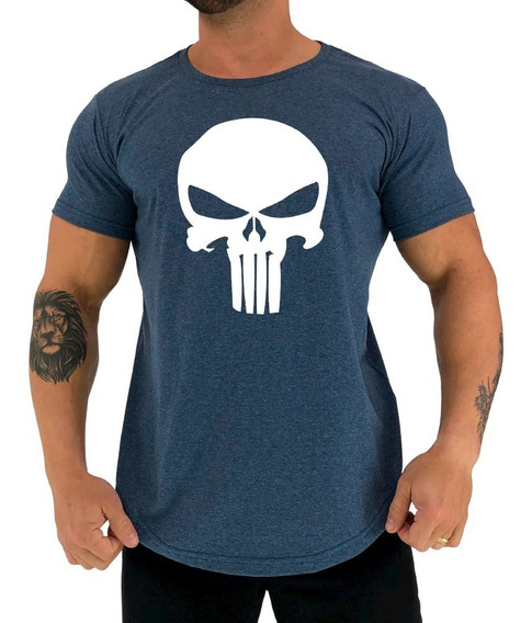 Camiseta Longline Punisher Justiceiro Academia Old Skull